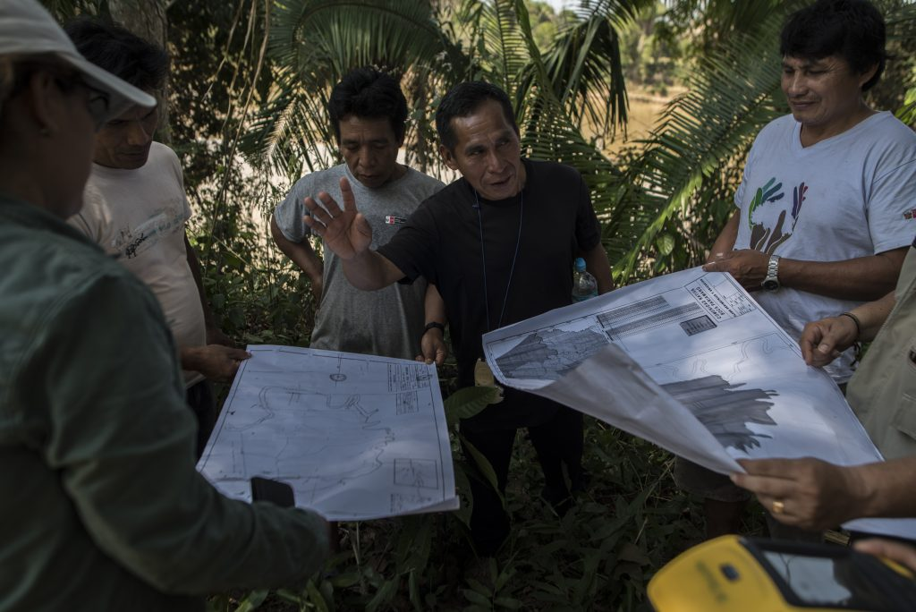 Villagers of Boca Pariamanu use global positioning technology to map the boundaries of their territory.